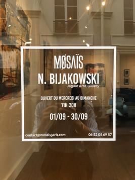 Nicolas Bijakowski art exhibition in Paris with Jaguar Arte Gallery in collaboration with Mosais at Le marais