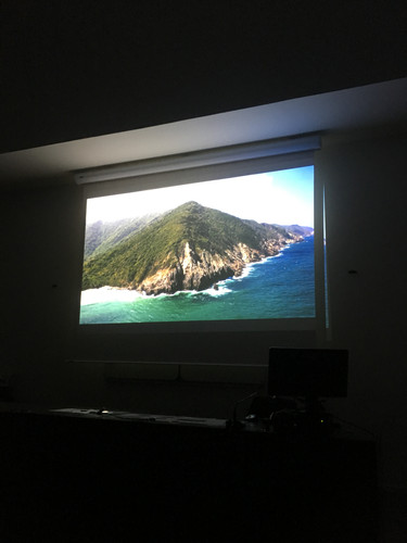 Screen projection of Corazon del mundo by Santiago Roa Founder of Jaguar Siembra Foundation at INALCO