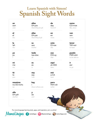 Learn Spanish Sight Words with Simon and the MamaLingua App