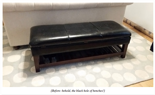 DIY: Upholstered bench with nailhead trim