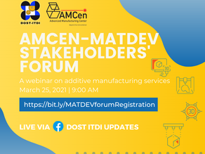 Join AMCen-MATDEV StakeHolders' Forum this March 25, 2021