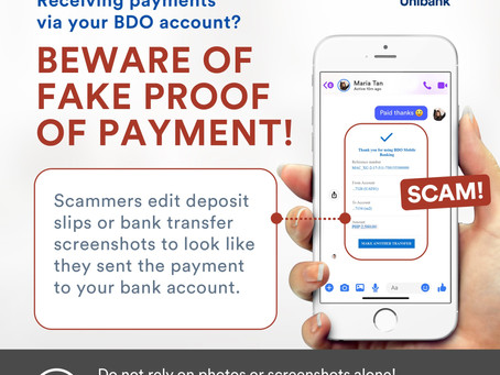 BDO to online sellers: Beware of fake proof of payment