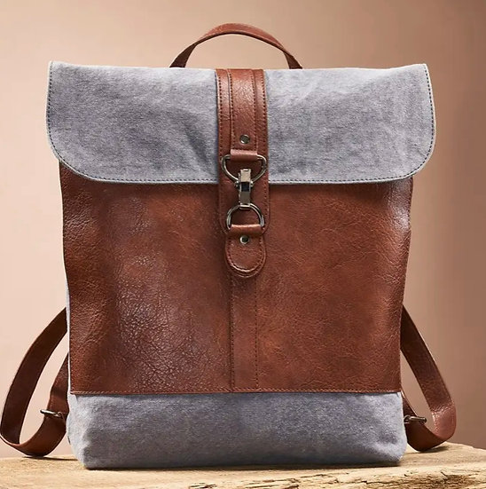 Recycled Canvas & Leather Backpack
