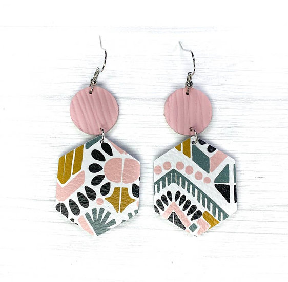 Aztec Pink Leather Earring