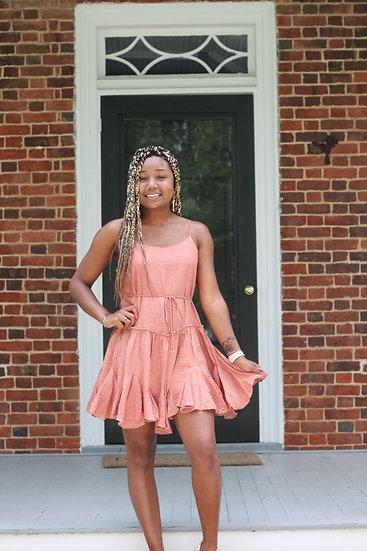 Terracotta Ruffle Swing Dress