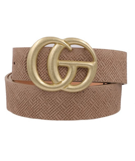 Brown Faux Leather Double Ring Belt