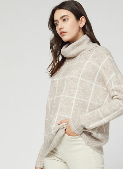 Oatmeal Grid Turtleneck Sweater