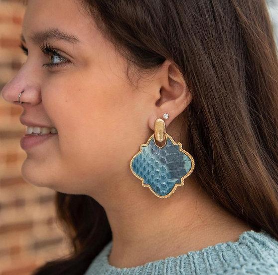 Watercolor Blue Quatrefoil Earring
