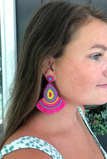 Fuchsia Teardrop Fringe Earring
