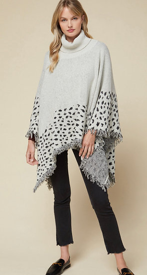 Grey Leopard Spotted Poncho