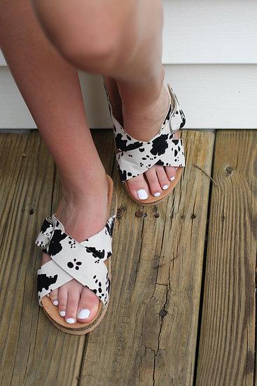 Cow Print Sandals