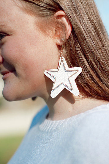 Leather Star Outline Earring