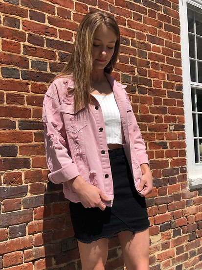 Rose Ripped Boyfriend Denim Jacket