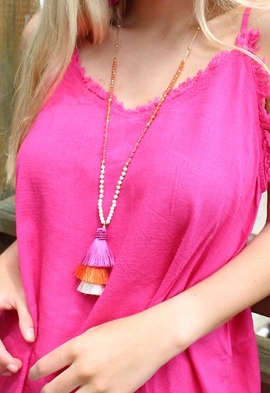 Pink & Orange Tassel Necklace