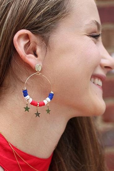 Patriotic Star Hoop Earrings