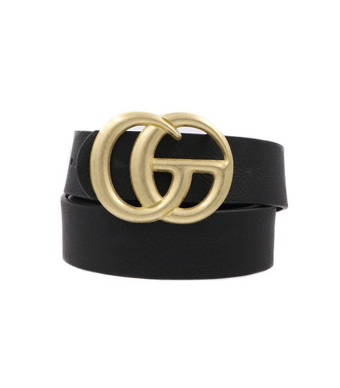 Black Faux Leather Double Ring Belt