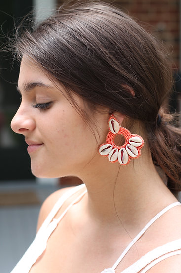 Coral Cowrie Shell Earrings