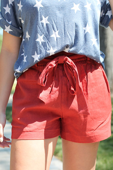 Red PaperBag Tie Shorts