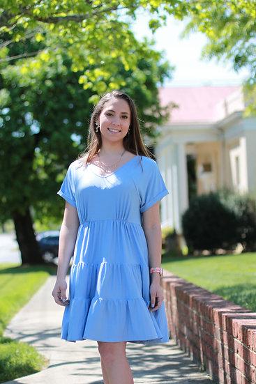 Blue V Neck Ruffle Dress