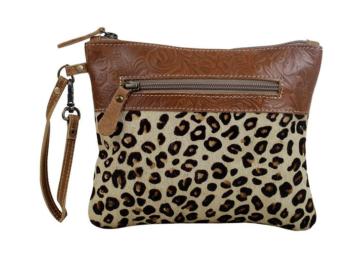 Cheetah Hairon & Leather Myra Pouch