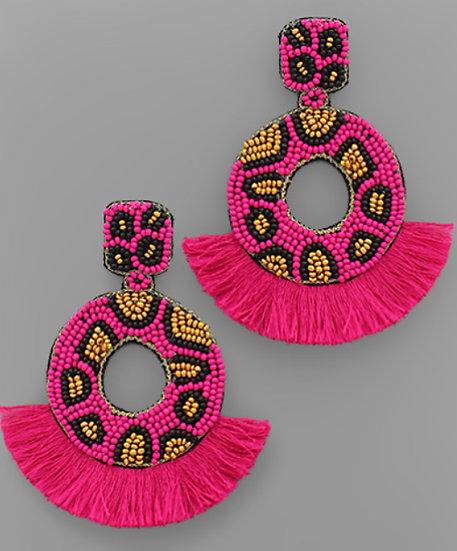 Cheetah Beaded Fringe Earring