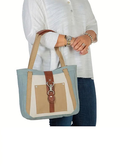 Recycled Canvas Skyblue Shoulder Bag