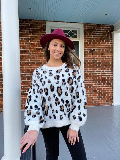White Cheetah Sweater