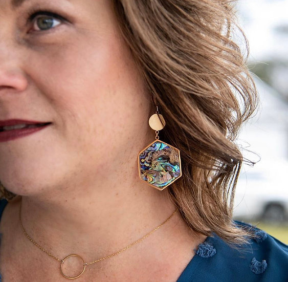 Gold Abalone Earring