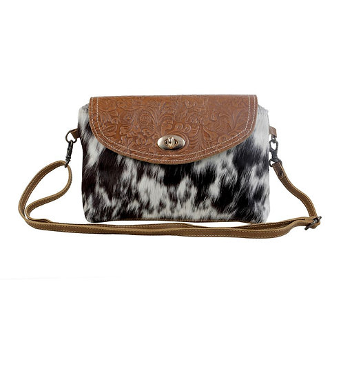 B/W Hairon & Leather Myra Crossbody