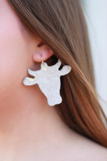 Handmade Cowhide/Leather Cow Earring
