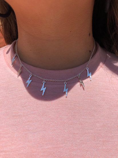 Silver Lightning Bolt Necklace Set