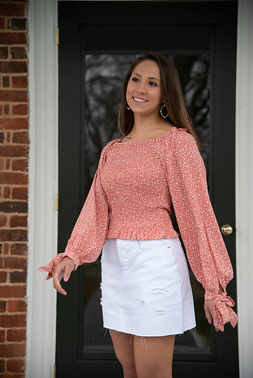 Coral Smocked Long Sleeve Top