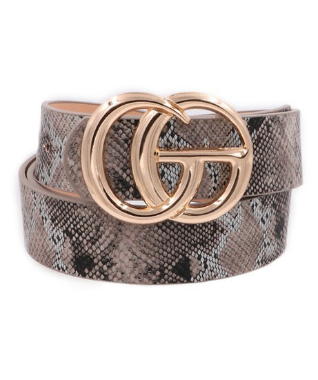 Brown Snake Faux Leather Double Ring Belt