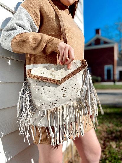 Myra Gold Spotted Fringe Bag