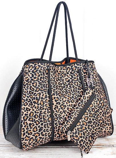 Cheetah Orange Interior Neoprene Tote