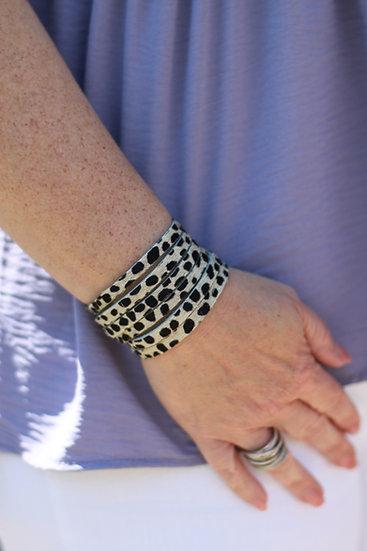 Handmade Cheetah Leather Cuff