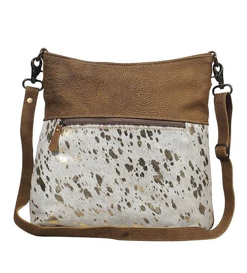Gold Speck Hairon/Leather Shoulder Bag