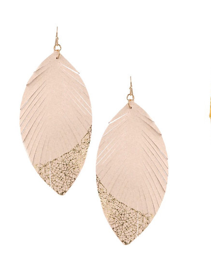Gold Dipped Feather Earring
