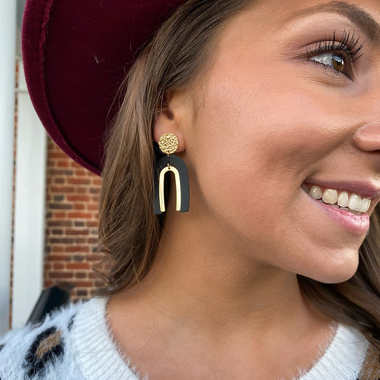 Black/Gold Arch Earring