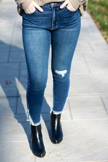 KAN CAN Medium Wash Ankle Detail Skinny Jean