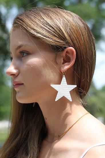 White Textured Star Dangles