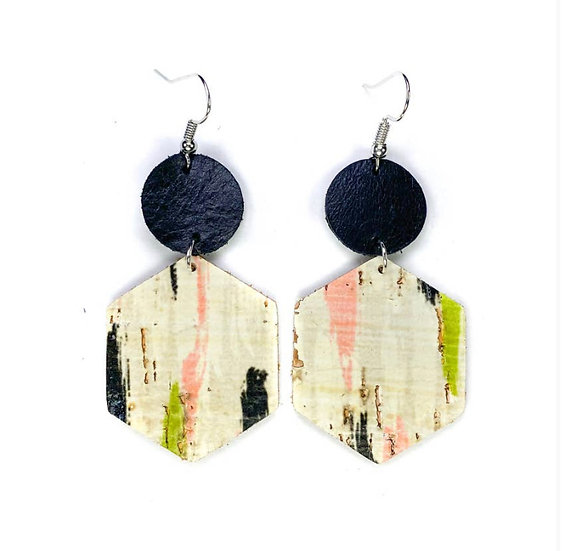 Watermelon Brushed Leather Earring