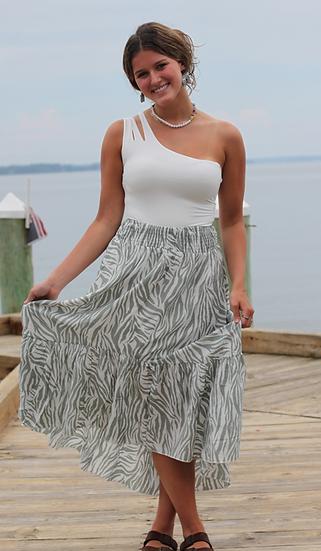 Sage Green Zebra Skirt