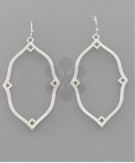 Silver Scallop Quatrefoil Earring
