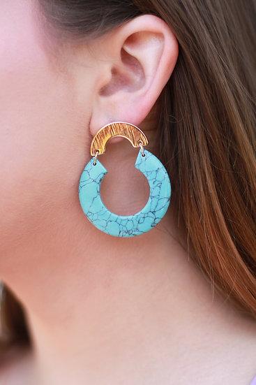 Half Circle Turquoise Earring