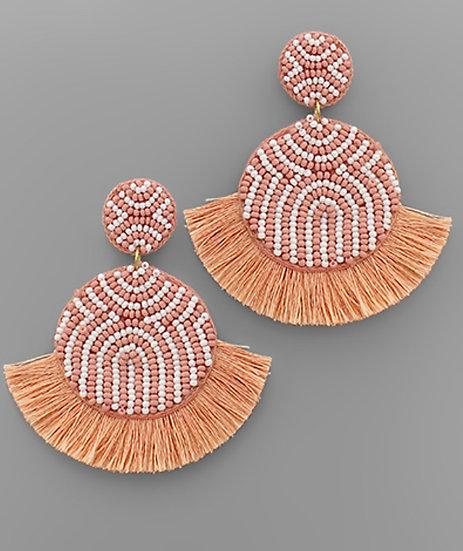 Dusty Pink Beaded Fringe Earring