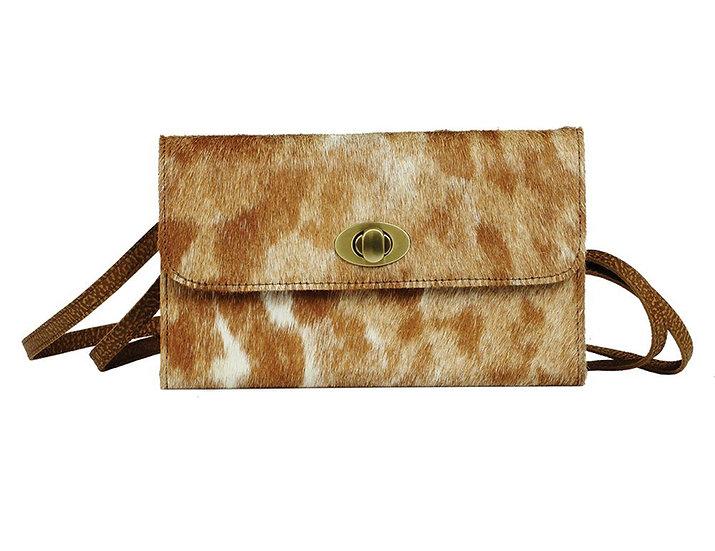 Brown/W Hairon Crossbody Wallet