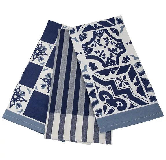 Set of 3 Blue Tea Towels