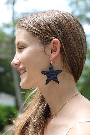 Navy Textured Star Dangles
