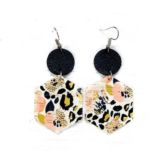 Watercolor Leopard Leather Earring
